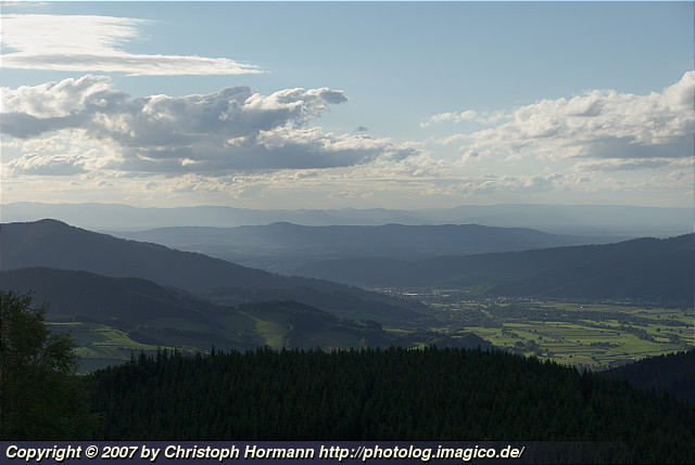 image 2: The Kaiserstuhl (German for emperor's chair) as seen from the Black Forest on a fairly clear summer day