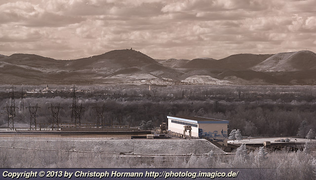 image 107: Before spring starts - view of the Marckolsheim power station at the Rhine from the Limberg with the Château du Haut-Kœnigsbourg in the background (infrared)